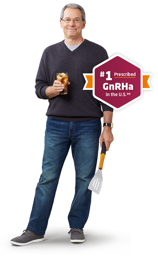Lucas, a LUPRON DEPOT patient, standing next to 'The number one prescribed GnRHa' badge
